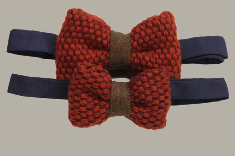 Bow-Tie 'Red Wool' Vintage - rood wollen vlinderstrik - kindermaat