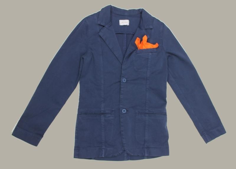 Jan van Trier - colbert donkerblauw jeans met oranje pochet - maat 152 - JT10