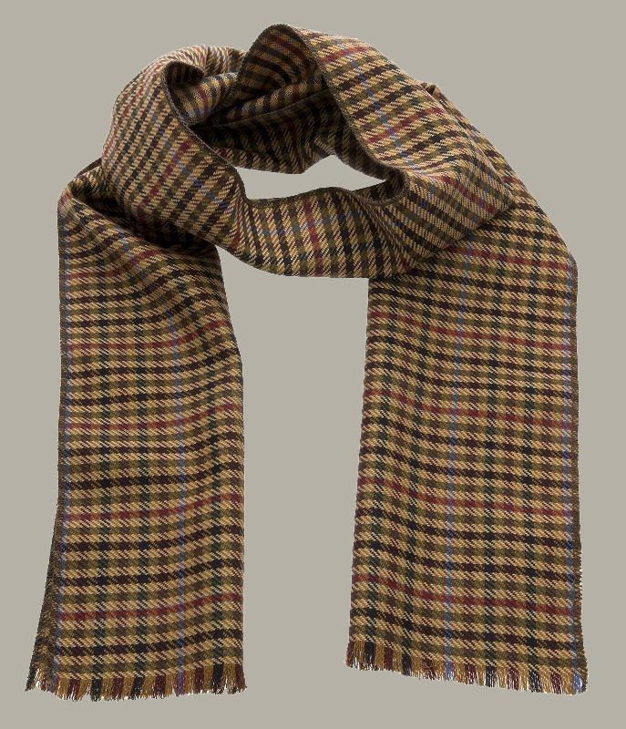 Shawl 'Edgar' Checked Camel - one size - wollen shawl - CTH Eriscon