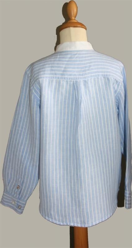 Little Linens blauw/wit linnen gestreept `granddad` overhemd - maat 146 - LL03
