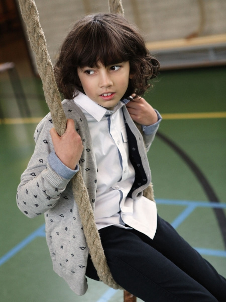 Vinrose vest 'Harlan' Grey Melange - grijs met donkerblauw - maat 134/140 - VR98