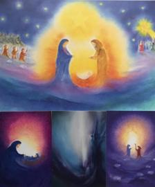 Poster geboorte van Jezus en drie kaarten