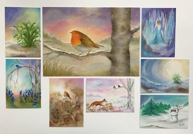 Roodborstje poster en 7 winterkaarten