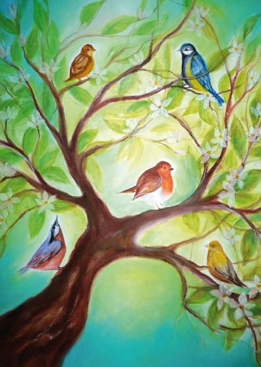 D1007 Vogeltjes in boom