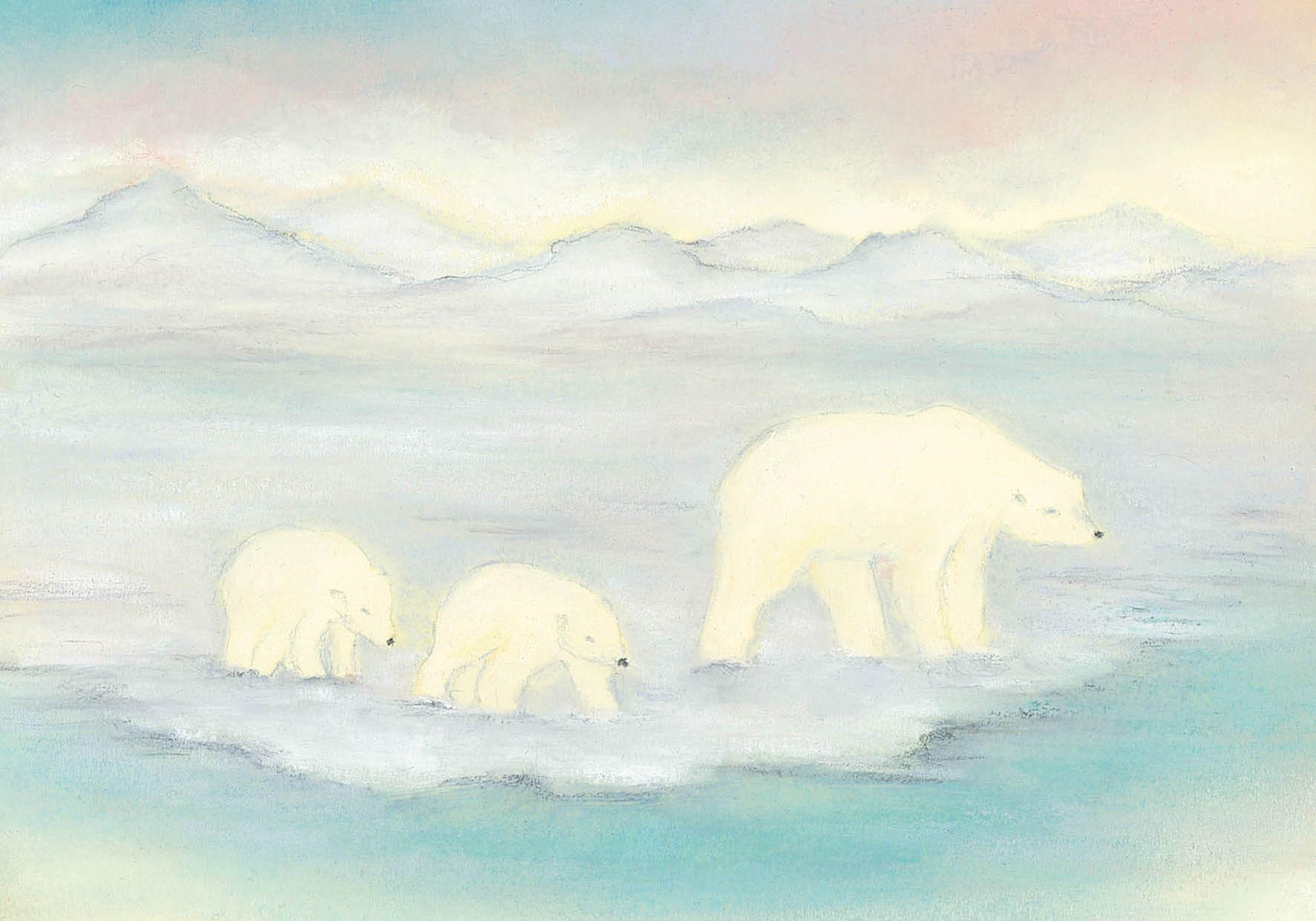 Moeder ijsbeer met jongen
