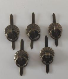 Metalen knop splitpen-  klein - brons - 5 stuks