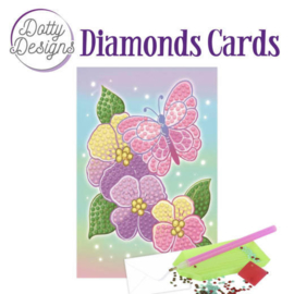 Diamonds Cards - Dotty Designs - Purple Flowers -DDDC1012