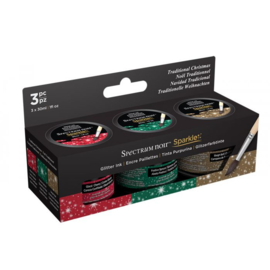 Spectrum Noir - Sparkle vloeibare inkten - Traditional Christmas - SN-SPAR-LI30-TCHR3