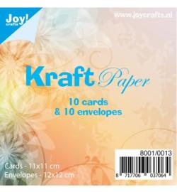 Joy!Crafts- kraftpapier - kaarten 11 bij 11 cm met enveloppen- 8001/0013