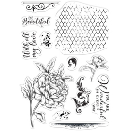 Crafter's Companion - Clearstamps - Beautiful Peony - COLL-STP-BEPO