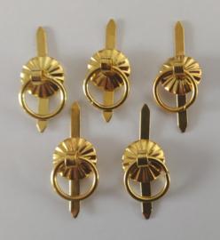 Metalen knop splitpen - klein - goud - 5 stuks