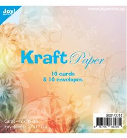 Joy!Crafts- kraftpapier - kaarten 16 bij 16 cm met enveloppen- 8001/0014