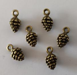 Metalen bedeltjes - dennenappel - brons - 6 stuks