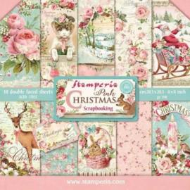 Stamperia - papierblok - 20,3 cm bij 20,3 cm - Christmas pink