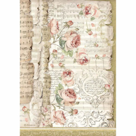 Stamperia - Rice Paper A4 - Roses and Music - (DFSA4486)