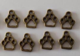 Metalen bedeltjes - dierenvoetjes - brons - 8 stuks