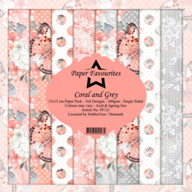 Paper favourites - coral and grey - 15 cm bij 15 cm - PF121