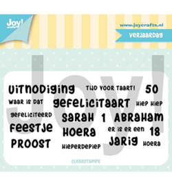 Joy! Crafts-Clearstempel-Tekst Verjaardag-6410/0504