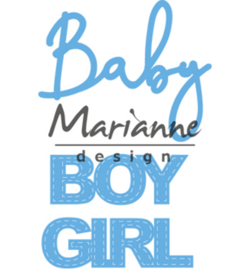 LR0576 Marianne Design Creatable Baby text boy & girl