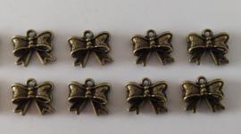 Metalen bedeltjes - strikjes - brons - 8 stuks