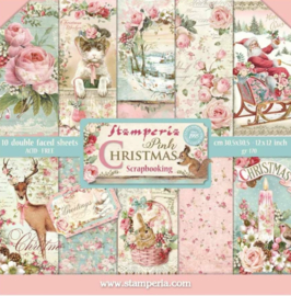 Stamperia- papierblok - Christmas pink -  30 cm bij 30 cm - SBBS16