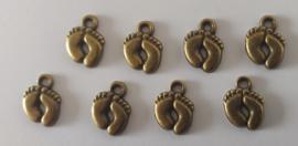 Metalen bedeltjes - voetjes - brons - 8 stuks