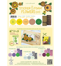 Leane Creatief 255794 - Foam Yellow en 2 nested flower stickers