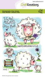 CraftEmotions - clearstamps A6 - Sheep 1 - Carla Creaties - 130501/1673
