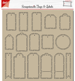 Joy!Crafts 6002/0881 Polybesa Scrap stencil - Noor - Tags and Labels