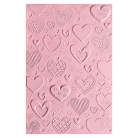Sizzix - 3-D embossing folder - hearts - 663628