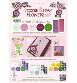 Leana Creatief 255787 - Foam Bordeaux/pink en 2 nested flower stickers
