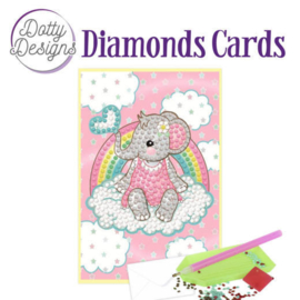 Diamonds Cards - Dotty Designs - pink baby elephant - DDDC1010