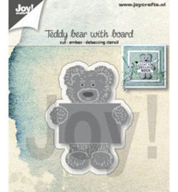 Joy!Crafts - Snij-embosstencil  - Teddy bear with note board - 6002/1308