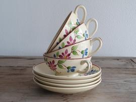 Societe Ceramique decor 1195 met bloem set 4x Thee Kop en schotel