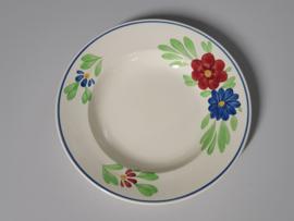 Boerenbont Societe Ceramique blauw-rode bloem Diep Soep Pasta Bord 23,5 cm