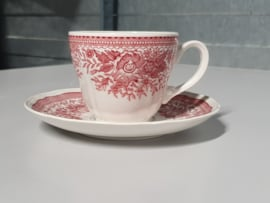 Fasan rood Koffiekopje met schotel
