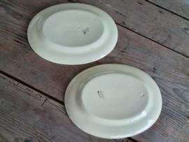Engels Boerenbont Adderleys set 2x ovale Serveerschaal 28,5 cm