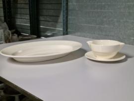 Societe Ceramique Creme set ovale Serveerschaal 40,5 cm en Sauskom