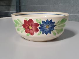 Boerenbont Societe Ceramique blauw-rode bloem Serveerschaal rond 18 cm