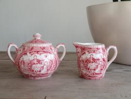 Tea Drinker rood Societe Ceramique Roomstelletje Tete-a-Tete-stel
