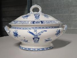 Potiche blauw Societe Ceramique  Dekschaal Terrine