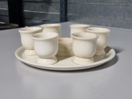 Societe Ceramique creme complete Eierdopset incl. zoutvaatje