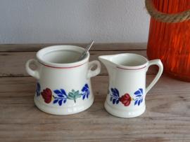 Boerenbont Boch  Suikerpot en Roomkannetje (apart model met oortjes)