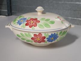 Boerenbont Societe Ceramique blauw-rode bloem Dekschaal Terrine