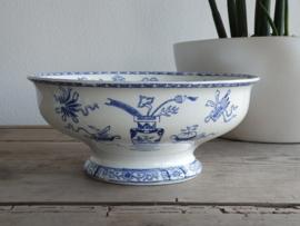 Potiche blauw Societe Ceramique Serveerschaal op voet 27,5 cm