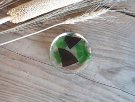 Glas platte Vintage Presse Papier (groen met zwart)