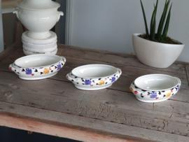 Boerenbont 255 b Societe Ceramique Set van 3x Dekschaal Terrine Renee nr. 2 (zonder deksel)