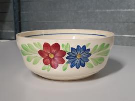 Boerenbont Societe Ceramique blauw-rode bloem Serveerschaal rond 21 cm (chipje)