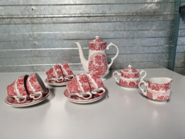 Engels rood Woods Ware Koffieservies of als Theeservies 6-pers.