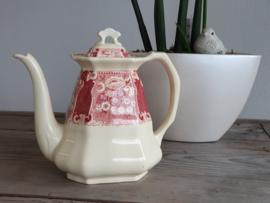 Victoria SC rood Koffiepot (ondergrondkleur creme)